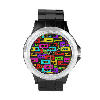 Colorful 80s analoge audio tapes wrist watches