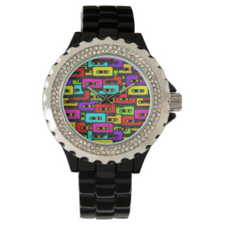 Colorful 80s analoge audio tapes watch