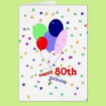 Colorful 80th Birthday Balloons Card