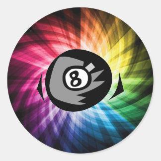Colorful 8 ball classic round sticker