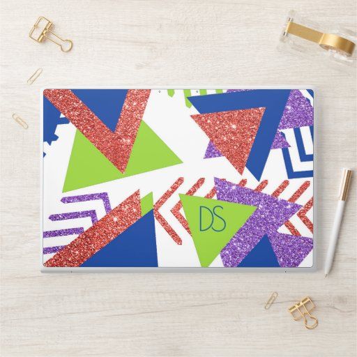 Colorful 90s Abstract | Artsy 80s Palette Monogram HP Laptop Skin