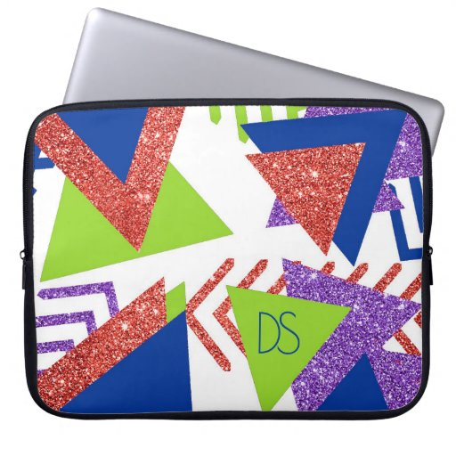 Colorful 90s Abstract | Artsy 80s Palette Monogram Laptop Sleeve