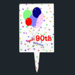 "Colorful 90th Birthday Balloons Cake Topper<br><div class=""desc"">A fun,  cheerful and colorful 90th birthday cake topper with balloons and confetti.</div>"