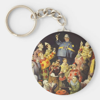 """COLORFUL """"A MEETING OF CLOWNS"""" CUTE KEY-CHAIN BASIC ROUND BUTTON KEYCHAIN"""