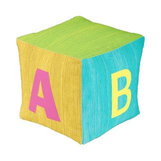 Colorful ABC Faux Wooden Block Pouf