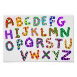 Colorful ABC Polka Dots Drawing For Kids Room Poster