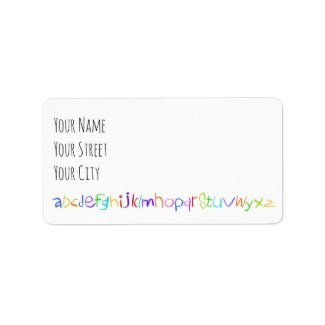 Colorful ABC Rainbow Crayons Kid's Handwriting Label