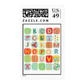 Colorful ABCs Postage Stamps