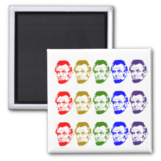 Colorful Abe Lincoln Abstract Art 2 Inch Square Magnet