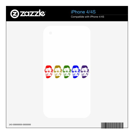 Colorful Abe Lincoln Abstract Art Decals For iPhone 4S