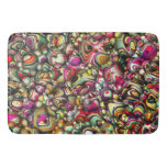 Colorful Abstract 3D Shapes Bathroom Mat