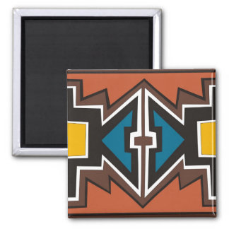 Colorful abstract African art 2 Inch Square Magnet