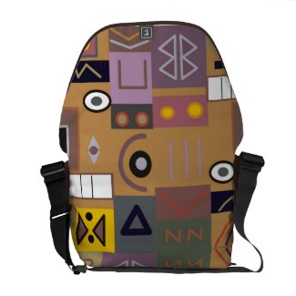 Colorful abstract African art Courier Bags
