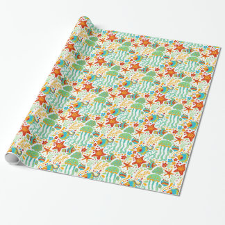 Colorful Abstract Aquatic Life Cartoon Style Wrapping Paper