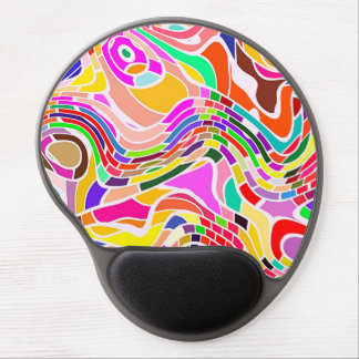 Colorful Abstract Art, Colorful Shapes White Lines Gel Mouse Pad