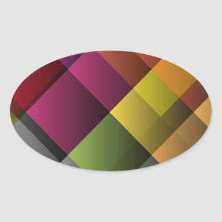 Colorful Abstract Art Oval Sticker