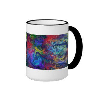 Colorful Abstract Art Ringer Mug