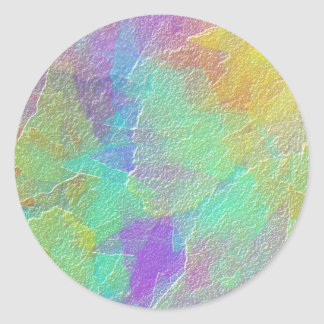 Colorful Abstract Art Simulated Textured Glass Classic Round Sticker