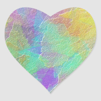 Colorful Abstract Art Simulated Textured Glass Heart Sticker