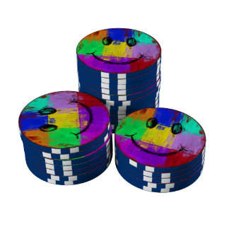 Colorful Abstract Art Smiley Face Poker Chips Set