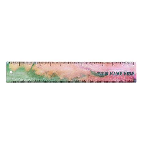 Colorful Abstract Art Watercolor CUSTOMIZE Ruler