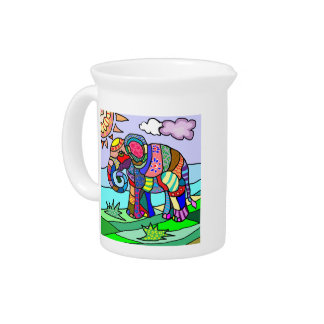 Colorful abstract artistic folcloristic elephant drink pitcher