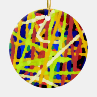 Colorful Abstract Artwork Ceramic Ornament