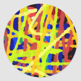 Colorful Abstract Artwork Classic Round Sticker