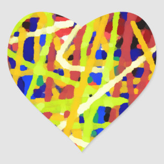Colorful Abstract Artwork Heart Sticker