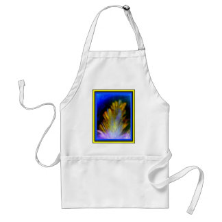 Colorful abstract artwork of a peacock feather adult apron