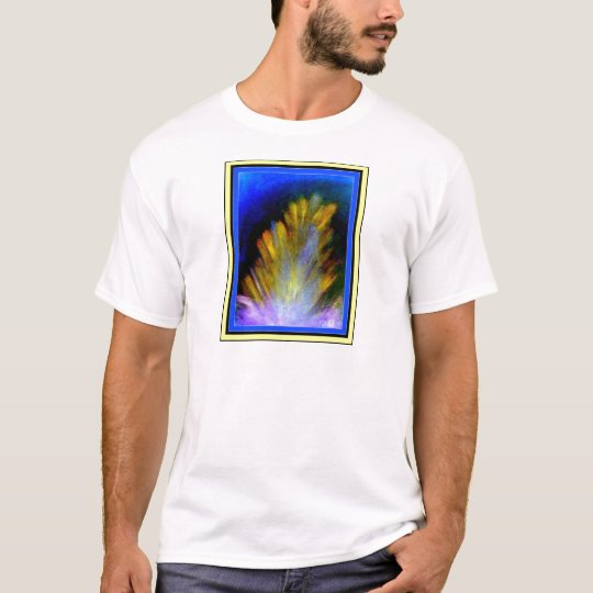 Colorful abstract artwork of a peacock feather T-Shirt