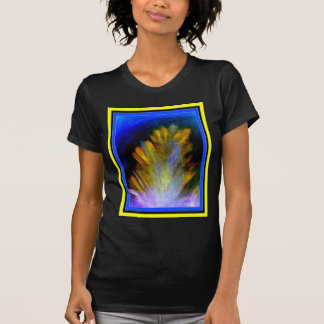 Colorful abstract artwork of a peacock feather tee shirts
