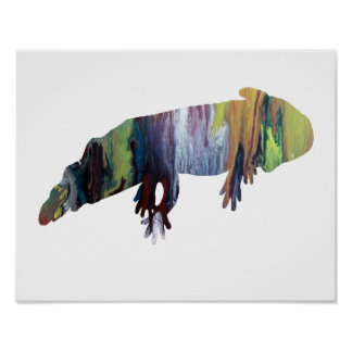 Colorful abstract axolotl silhouette poster