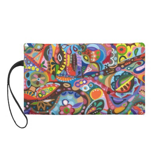 Colorful Abstract Bag - Clutch Cosmetic Accessory Wristlet