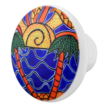 Beach Themed Colorful Abstract Beach Sunset Palm Trees Ceramic Knob