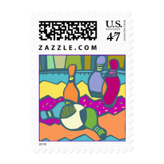 Colorful abstract Bowling Pins & Ball stamp STAMPS