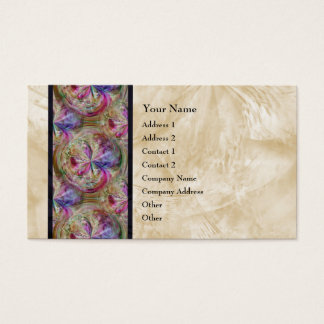 Colorful Abstract Bubble Pattern Ribbon Border Business Card