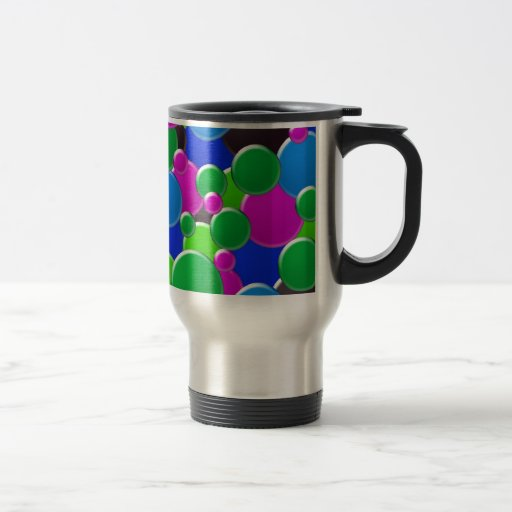 Colorful abstract bubbles design 15 oz stainless steel travel mug