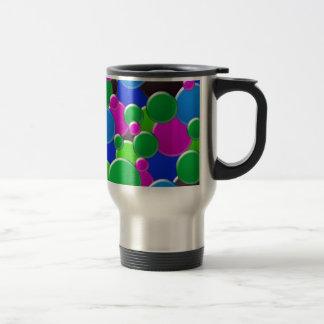 Colorful abstract bubbles design travel mug