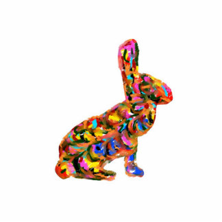 Colorful Abstract Bunny Ornament Magnet Keychain Acrylic Cut Outs