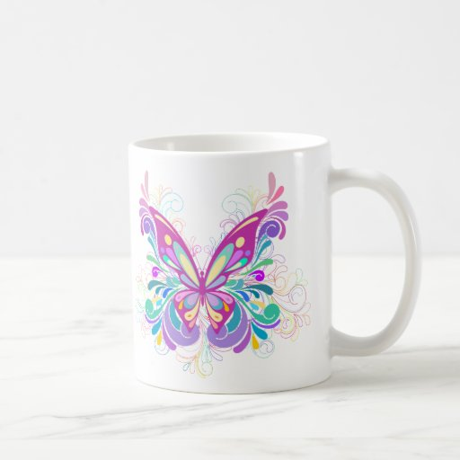 Colorful Abstract Butterfly Classic White Coffee Mug
