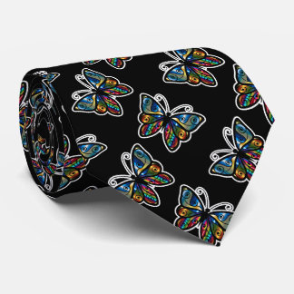 Colorful Abstract Butterfly on Black Background Neck Tie