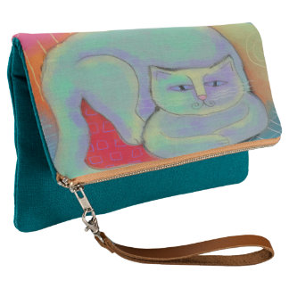 Colorful Abstract Cat Art Foldover Clutch Purse
