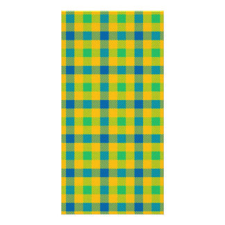 Colorful abstract checkered pattern card