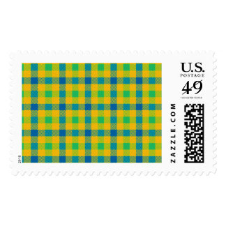 Colorful abstract checkered pattern postage