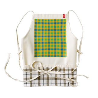 Colorful abstract checkered pattern zazzle HEART apron