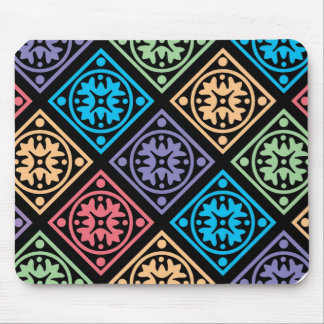 Colorful abstract circles and squares mousepad