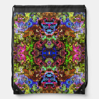 Colorful Abstract Circles Collage Drawstring Bags