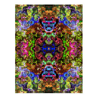 Colorful Abstract Circles Collage Postcard
