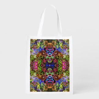 Colorful Abstract Circles Collage Reusable Grocery Bag